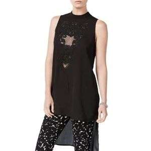 Bar III Black Embroidered High-Low Tunic
